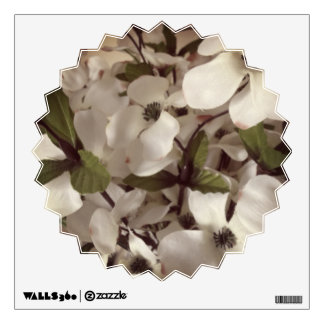 white flowers with little petals wall decal