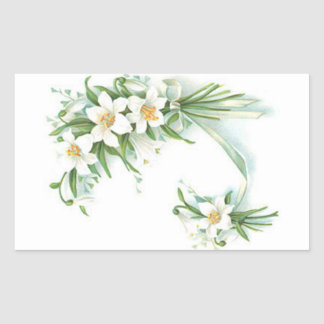 White Flowers With Ribbon Rectangular Sticker