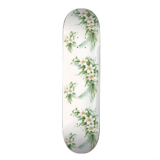 White Flowers With Ribbon Skateboard Deck