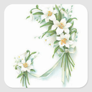 White Flowers With Ribbon Square Sticker