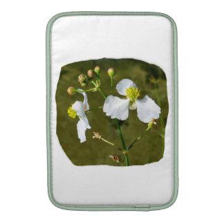 White flowers yellow center round buds MacBook air sleeves