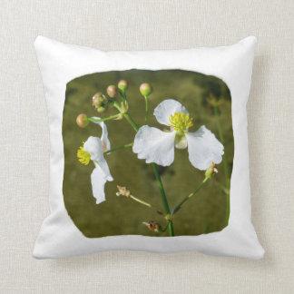 White flowers yellow center round buds throw pillow