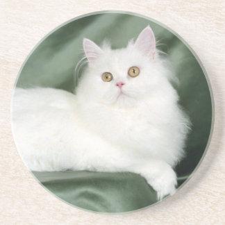 White , Fluffy Cat Coaster