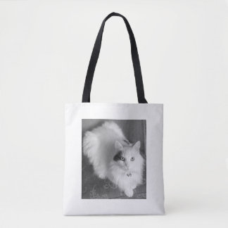 White fluffy cat fun tote bag.