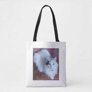 White fluffy cat fun trendy tote bag.