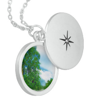 White Fluffy Cloud Air Brushed Locket Necklace