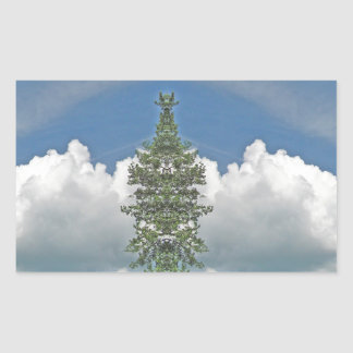 White Fluffy Cloud Kladescope Design Rectangular Sticker