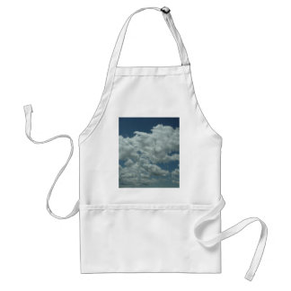 White, fluffy clouds in blue sky adult apron