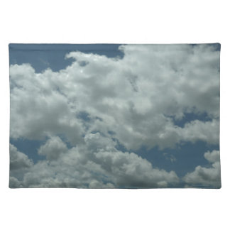 White, fluffy clouds in blue sky placemats