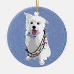 White Fluffy Dog - Peace Joy Love - Holiday Ceramic Ornament
