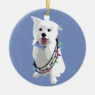 White Fluffy Dog - Peace Joy Love - Holiday Ceramic Ornament