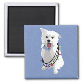 White Fluffy Dog - Peace Joy Love - Holiday Fridge Magnets