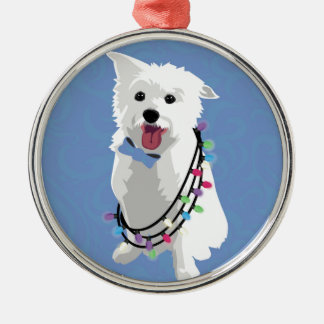 White Fluffy Dog - Peace Joy Love - Holiday Metal Ornament