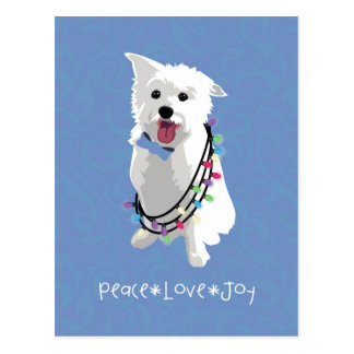 White Fluffy Dog - Peace Joy Love - Holiday Postcard