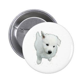 White Fluffy Puppy Button