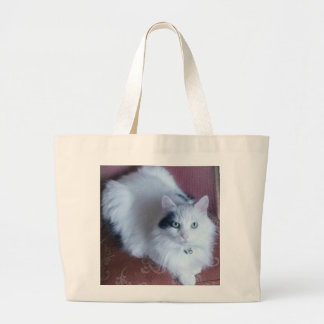White fluffy puss cat shopping tote bag.
