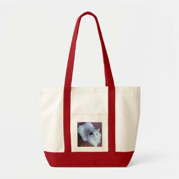 Beach Themed White fluffy pussy cat shopping beach bag. tote bag