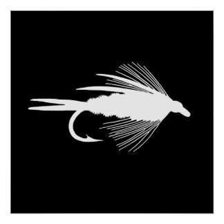 White Fly Fishing lure graphic Poster