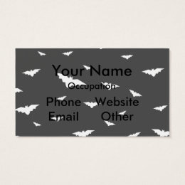 White Flying Bats & Grey Background- Halloween Business Card