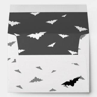 White Flying Bats & Grey Background - Halloween Envelope