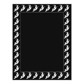 white Flying Halloween Witch Silhouette Border Letterhead