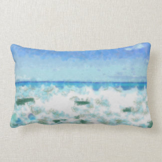 White foamy water near the beach lumbar pillow