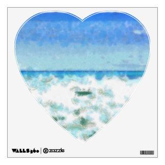 White foamy water near the beach wall sticker