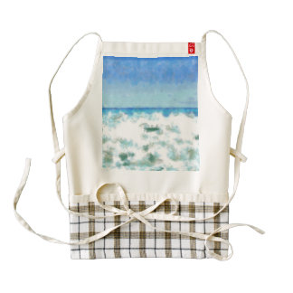 White foamy water near the beach zazzle HEART apron