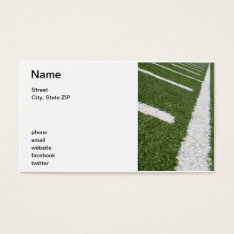 White Football Lines Business Card at Zazzle