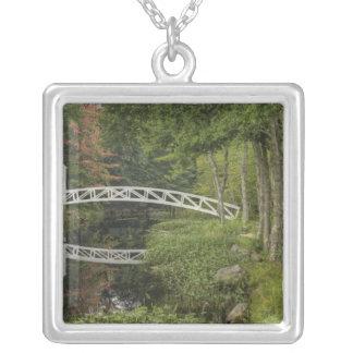 White footbridge, Somesville, Mount Desert Square Pendant Necklace