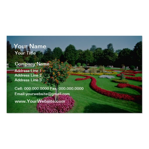 White Formal gardens, The Palmery, Vienna flowers Business Card Template