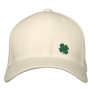 White Four Leaf Clover St. Patrick  - CUSTOMIZABLE Embroidered Baseball Hat