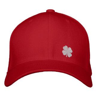 White Four Leaf Clover St. Patricks Dat Red Hat