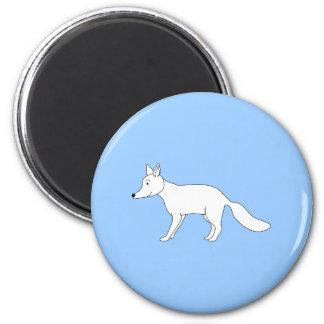 White Fox. 2 Inch Round Magnet