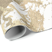 White Foxier Gold Marble Shiny Metallic Strokes Wrapping Paper