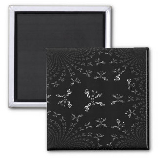 White Fractal-ized Music Butterfly 2 Inch Square Magnet