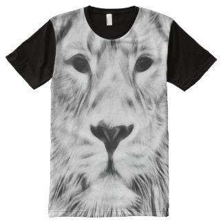White Fractal Lion All-Over-Print T-Shirt