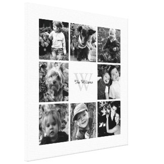 White Frame Monogrammed Photo Collage Canvas Print
