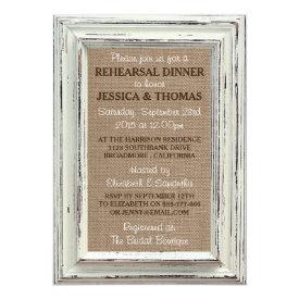White Frame Rustic Burlap Wedding Rehearsal Dinner Card