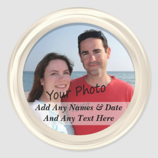 White Frame & Your Own Photo Custom Text Stickers