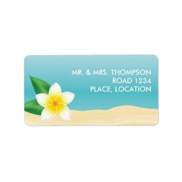 Beach Themed White Frangipani Tropical Beach Wedding Label