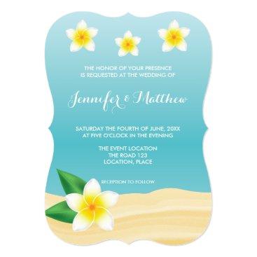 Beach Themed White Frangipani Tropical Flowers Beach Wedding Card