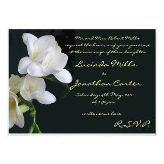 White Freesias Wedding Invitation