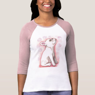 white French Bulldog pup with pink T-Shirt