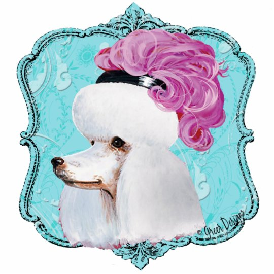 White French Poodle in Hat Sculpture Ornament