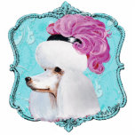 White French Poodle in Hat Sculpture Ornament Acrylic Cut Out
