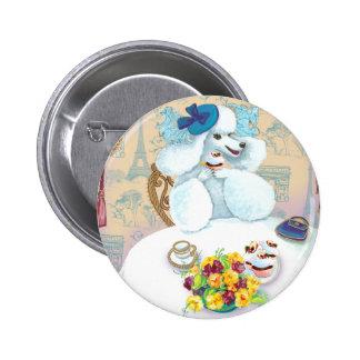 White French Poodle Tea Party Button