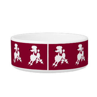 White French Poodles on Customizable Background Bowl