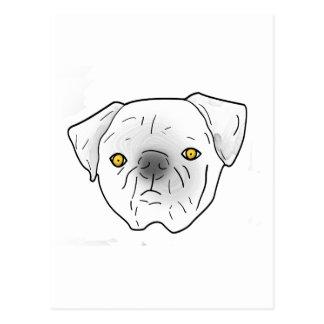 white fresco pug postcard