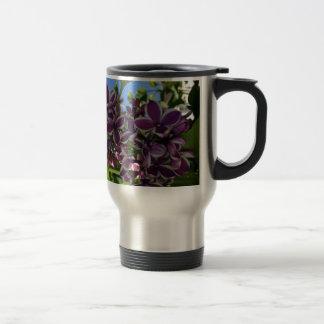 White fringed purple lilac coffee mug